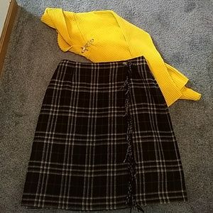 Black, tan and red skirt